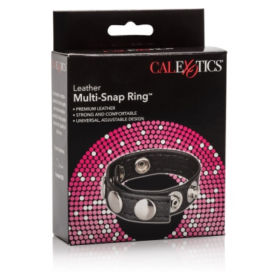 Anneaux péniens - Cockring  multi snap ring cuir 5 pressions